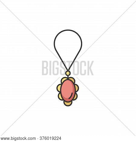 Necklace Rgb Color Icon. Female Jewellery. Woman Luxury String With Precious Gem Stone. Adornment Fo