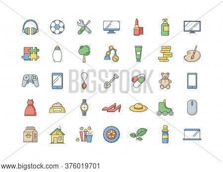 E Commerce Departments Rgb Color Icons Set. Electronic Devices. Personal Beauty And Health Care Prod