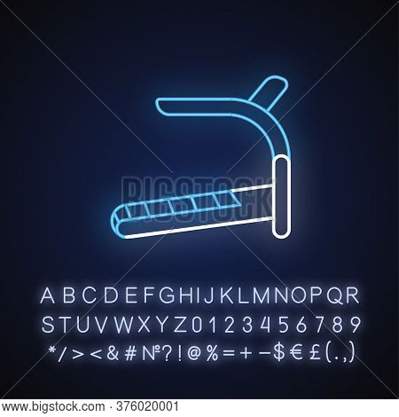 Treadmill Neon Light Icon. Outer Glowing Effect. Home Gym Equipment Sign With Alphabet, Numbers And