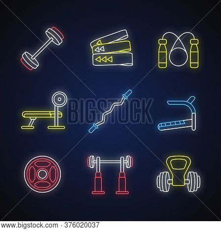 Strength Training Neon Light Icons Set. Workout Equipment And Gym Machines For Muscle Growth. Intens