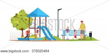 Children Playing In Playground Semi Flat Rgb Color Vector Illustration. Caucasian Father And Daughte