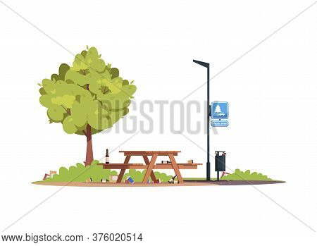 Dirty Picnic Area Semi Flat Rgb Color Vector Illustration. Picnic Table With Garbage, Rubbish. Trash