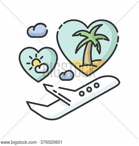Honeymoon Rgb Color Icon. Romantic Vacation After Wedding, Tropical Journey. Travel Agency Service,