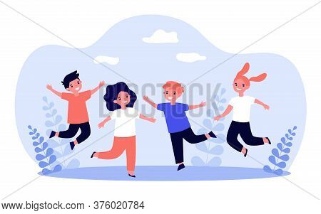 Happy Children Playing Together. Cheerful Boys And Girls Jumping Outdoors, Having Fun And Laughing W