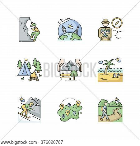 Rest And Travel Rgb Color Icons Set. Types Of Tourism, Vacation Activities. Holiday Adventure, Seaso