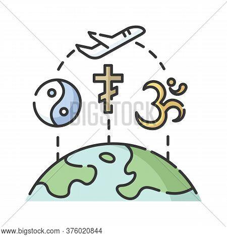 Religious Tourism Rgb Color Icon. Spiritual Journey, Pilgrimage. Exploring Worlds Religions. Taoism,