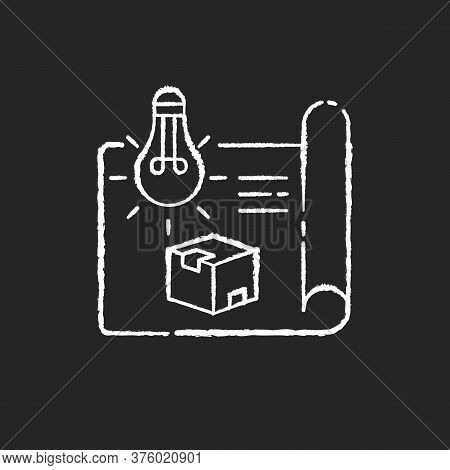 Product Concept Chalk White Icon On Black Background. New Invention, Creative Startup, Innovative Pr