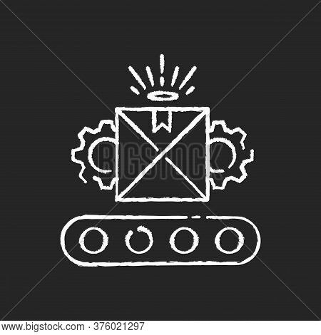 Custom Manufacturing Chalk White Icon On Black Background. Flexible And Adjustable Industrial Produc