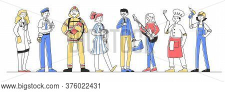 Set Of Professional Characters Flat Illustration. Different Occupations People Standing In Line. Gro