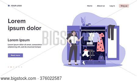 Woman Standing Near Opened Closet And Looking At Dresses Flat Vector Illustration. Pile Of Clothes L