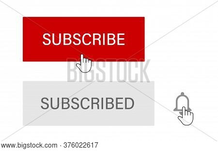 Subscribe Button With Hand Cursor. Subscription Process Illustration.