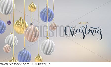 Xmas Background With Christmas Balls Of Nacre Pink, Gold And Blue, A Spiral Balls On A Color Vertica