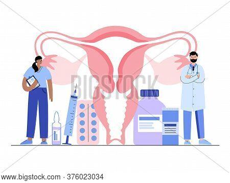 Uterus Anatomy And Doctor Gynecologist. Women Health Clinic. In Vitro Fertilization And Female Repro