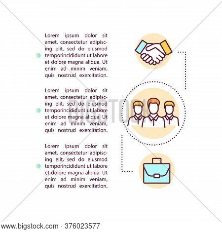 Business Corporation Concept Icon With Text. Ppt Page Vector Template. Partnership And Coworking. En