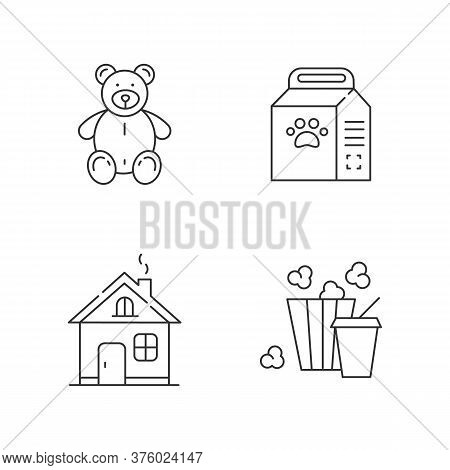 Lifestyle Linear Icons Set. Stuffed Toy For Children. Plush Bear For Kids. Home Improvement. Customi