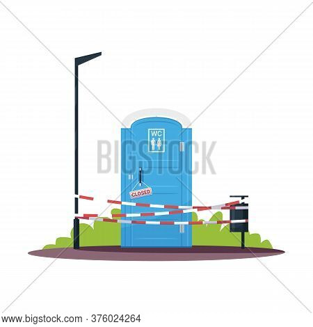 Closed Public Toilet Semi Flat Rgb Color Vector Illustration. Unisex Portable, Mobile Water Closets.