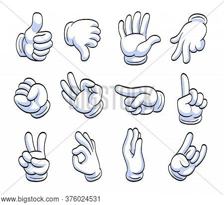 Different Cartoon Hands In White Gloves Flat Icon Set. Human Character Hand Pointing With Finger, Wa