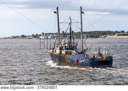 New Bedford, Massachusetts, Usa - July 11, 2020: Commercial Fishing Boat Krystal James, Hailing Port