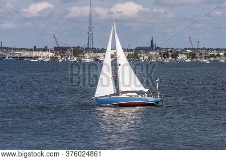 New Bedford, Massachusetts, Usa - July 11, 2020: Sailboat Tacking Across New Bedford Inner Harbor On