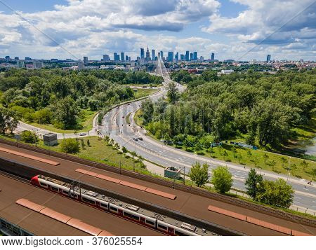 Warsaw, Poland. Aerial view of the city . stadion train station