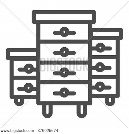 Bee Hives Line Icon, Beekeeping Concept, Bee Houses Sign On White Background, Hives For Bees Icon In