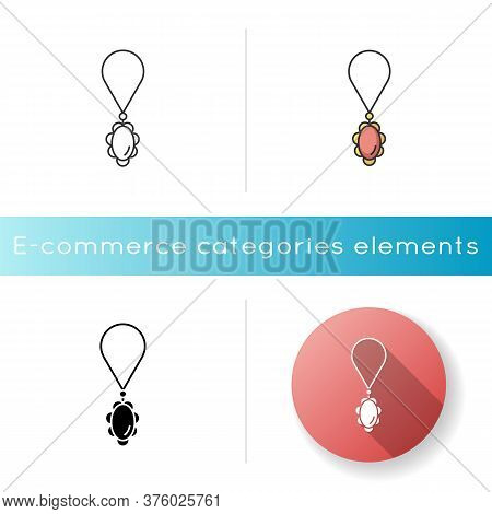 Necklace Icon. Female Jewellery. Woman Luxury String With Precious Gem Stone. Fashion Accessory Sale