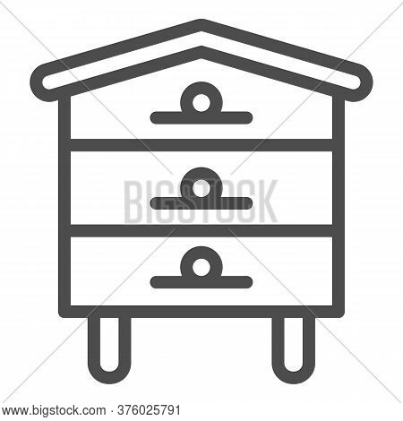 Bee Hive House Line Icon, Beekeeping Concept, Beehive Sign On White Background, Hive For Bees Icon I