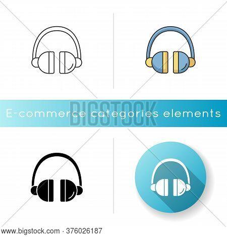 Headset Icon. Headphones To Listen Music. Wireless Dj Gear. Earphones For Call Center. Electronic De