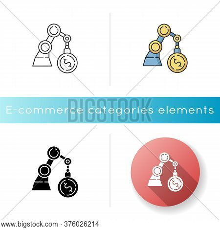 Business Icon. Industrial Production. Financial Operation. Economy And Banking. Machinery Investment
