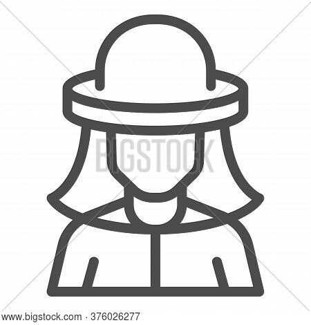 Beekeeper Line Icon, Beekeeping Concept, Beekeeper In Protection Hat Sign On White Background, Beeke