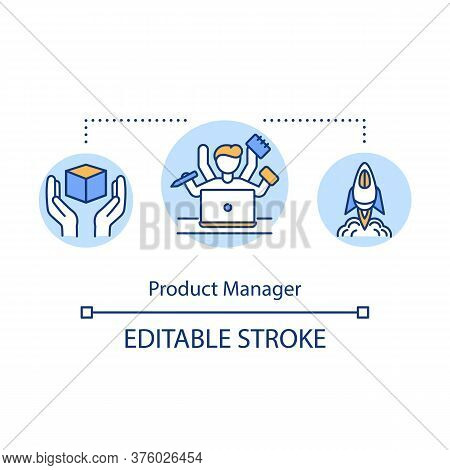 Product Manager Concept Icon. Business Supervisor. Company Coordinator For Brand. Product Management