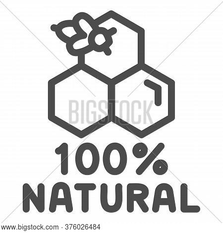 Honeycombs With Bee And Text Natural Honey Line Icon, Natural Organic Honey Sign On White Background
