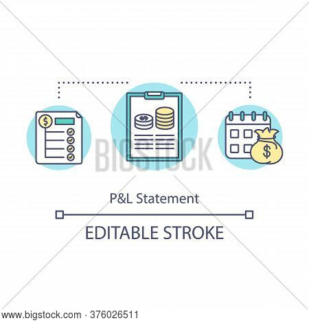 Profit And Loss Statement Concept Icon. Balance Sheet For Business Analytics. Product Management Ide