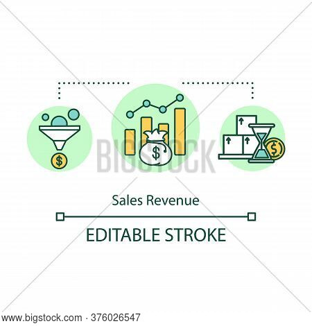 Sales Revenue Concept Icon. Corporate Income. Business Earnings. Budget Increase. Product Management