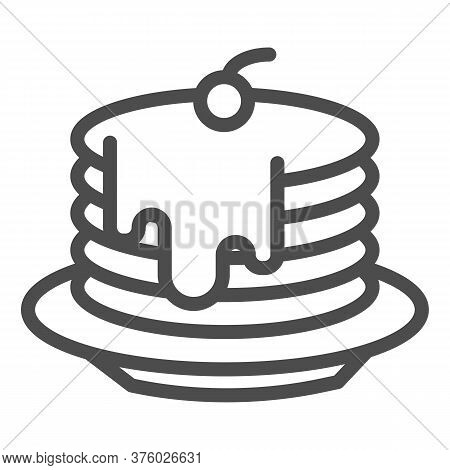 Pancakes With Honey And Cherries On Plate Line Icon, Bakery Concept, Pancakes With Syrup And Berry S