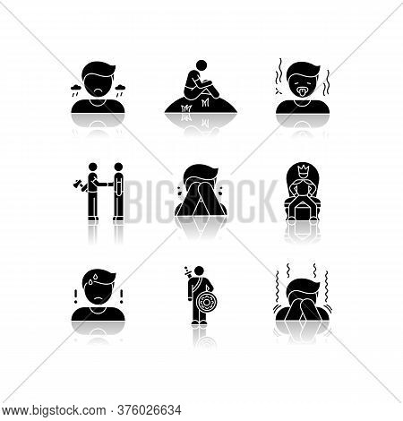 Negative Feelings Drop Shadow Black Glyph Icons Set. Bad Emotions, Psychological States. Human Behav