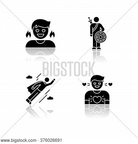 Good Feelings And Qualities Drop Shadow Black Glyph Icons Set. Positive Mood, Emotions And Personali
