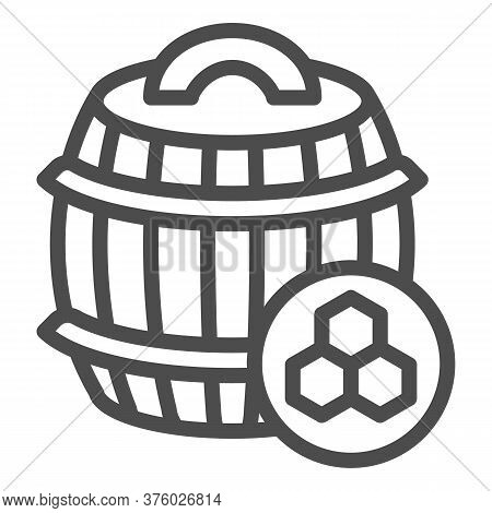 Barrel Of Honey Line Icon, Beekeeping Concept, Wooden Barrel And Honeycomb Sign On White Background,