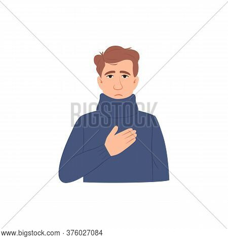 Chest Pain Symptom Flat Icon. Sick Young Man Has Heart Attack Isolated On White Background. Difficul