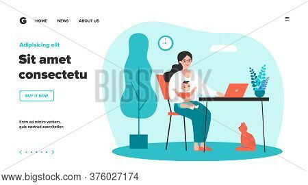 Happy Mother Holding Baby And Working Online At Home Flat Vector Illustration. Cartoon Mom Sitting A