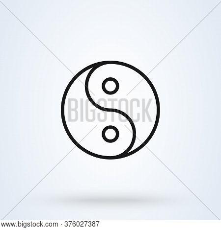 Yin Yang Symbol Of Harmony And Balance. Line Icon Design For Social, Spiritual Concept.
