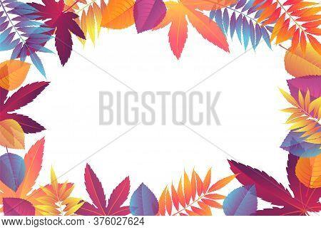 Fall Sale Frame With Bright Autumn Foliage Of Maple, Oak, Elm And Chestnut. Autumn Vector Illustrati