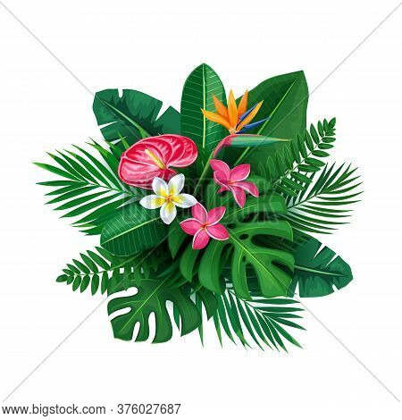 Tropical Banner With Jungle Exotic Flower And Leaves. Round Composition Of Green Tropical Banana Pal