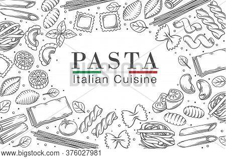 Italian Pasta Or Macaroni Frame, Outline Vector Illustration. Italian Food Poster Of Ravioli, Gnocch