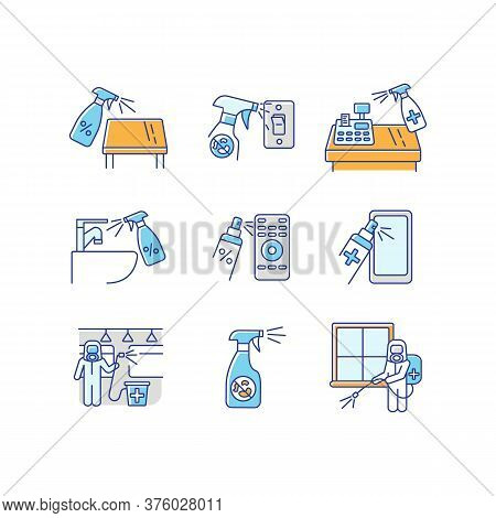 Decontamination Rgb Color Icons Set. Professional Sanitary Service, House Cleansing. Sterilization W