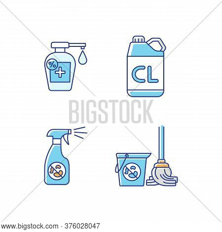 Cleaning Products Rgb Color Icons Set. Sanitation Supplies, Hygiene. Antibacterial Disinfectants, Di