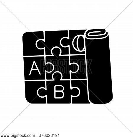 Play Mat Black Glyph Icon. Foldable Foam Mat. Alphabet Interlocking Playmat. Activity Floor. Gross M