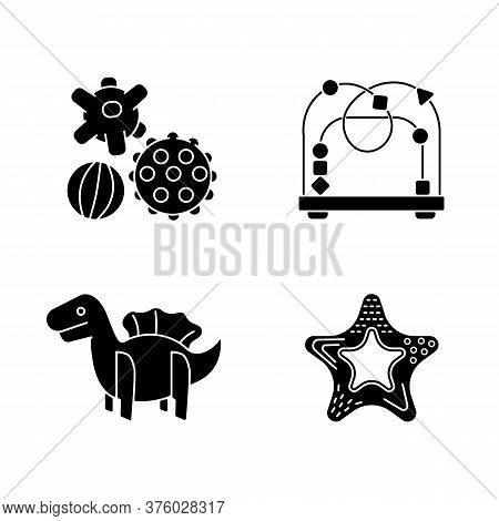 Children Sensory Toys Black Glyph Icons Set On White Space. Textured Balls And Bead Maze. Fine And G