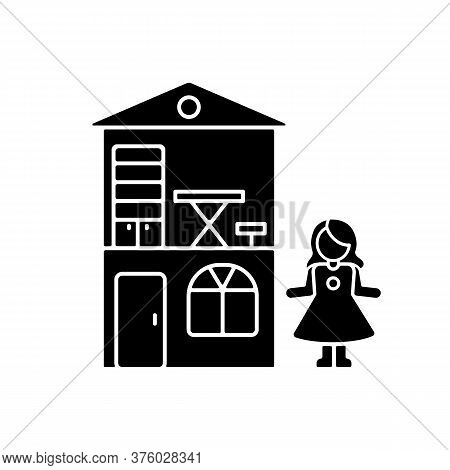 Dollhouse Black Glyph Icon. Miniature Playhouse With Doll. Pretend Games Playing. Princess Home, Cot