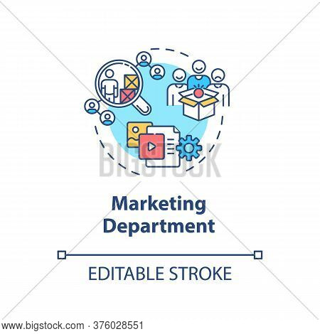 Marketing Department Concept Icon. Commercial Plan. Corporate Financial Data. Product Management Ide